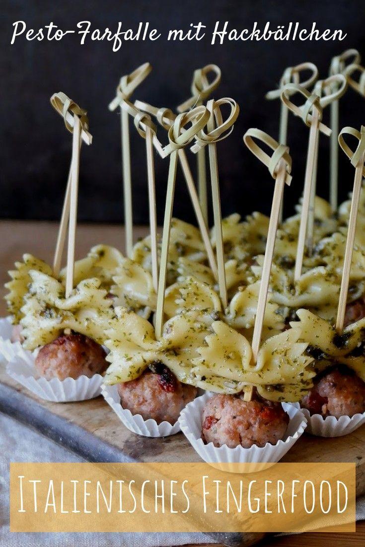 Pesto-Farfalle mit Hackbällchen  #buffet