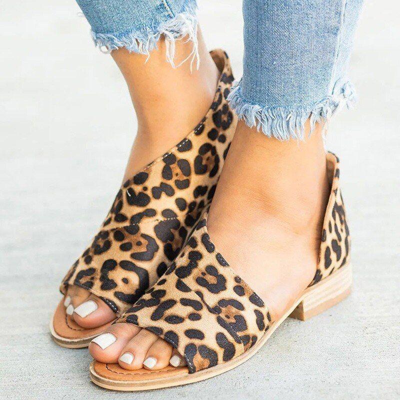 New Summer Women Leopard Sandals Flat Cover Heel Shoes Female Peep Toe Sandals High Quality Suede Retro Comf Peep Toe Sandals Casual Shoes Women Peep Toe Flats