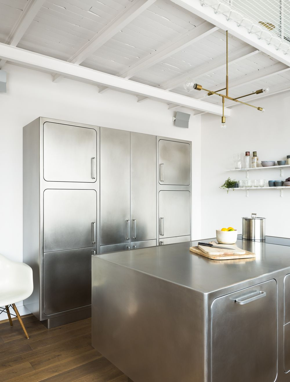 Albimis All Stainless Steel Kitchen In A Paris Loft By Festen Architecture Remodeli Stainless Kitchen Steel Kitchen Cabinets Stainless Steel Kitchen Cabinets