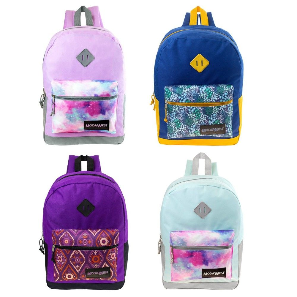 17 Whole Backpack In 4 Assorted Prints Bulk Case Of 24 Bookbags