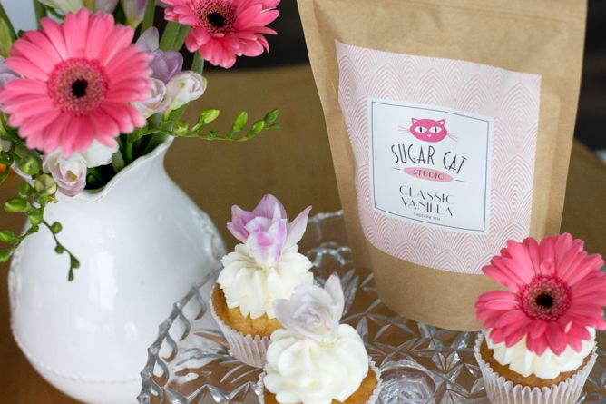 Classic Vanilla Cupcake Mix can be dressed up in so many ways! This mix and more flavors available at SugarCatStudio.com.