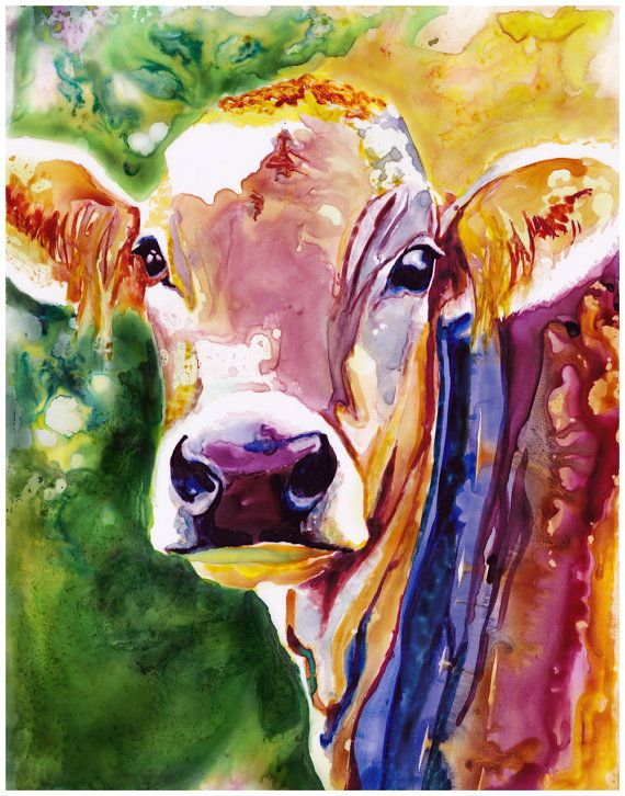 Pin By Marilyn Eudy On Artworks Cow Painting Cow Art Watercolor Art