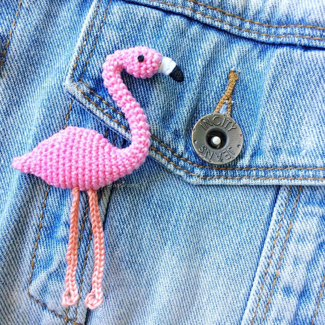 Crochet Brooch Flamingo брошь фламинго крючком мое вязание