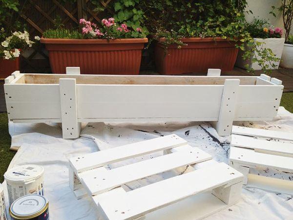 jardinera palets pintada blanco