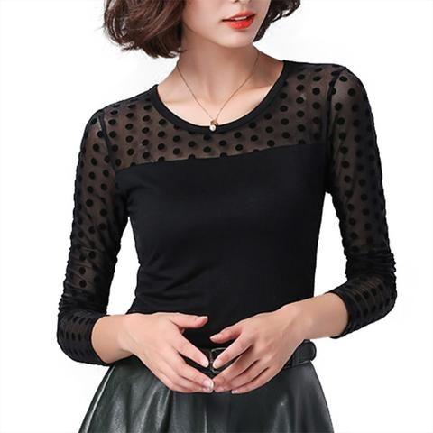 255fbf5b25c8d Soperwillton Women Blouse Shirt Lace 2018 Fashion O-neck Long Sleeve Black  korean Shirts Casual winter Blouses Ladies Tops  B748