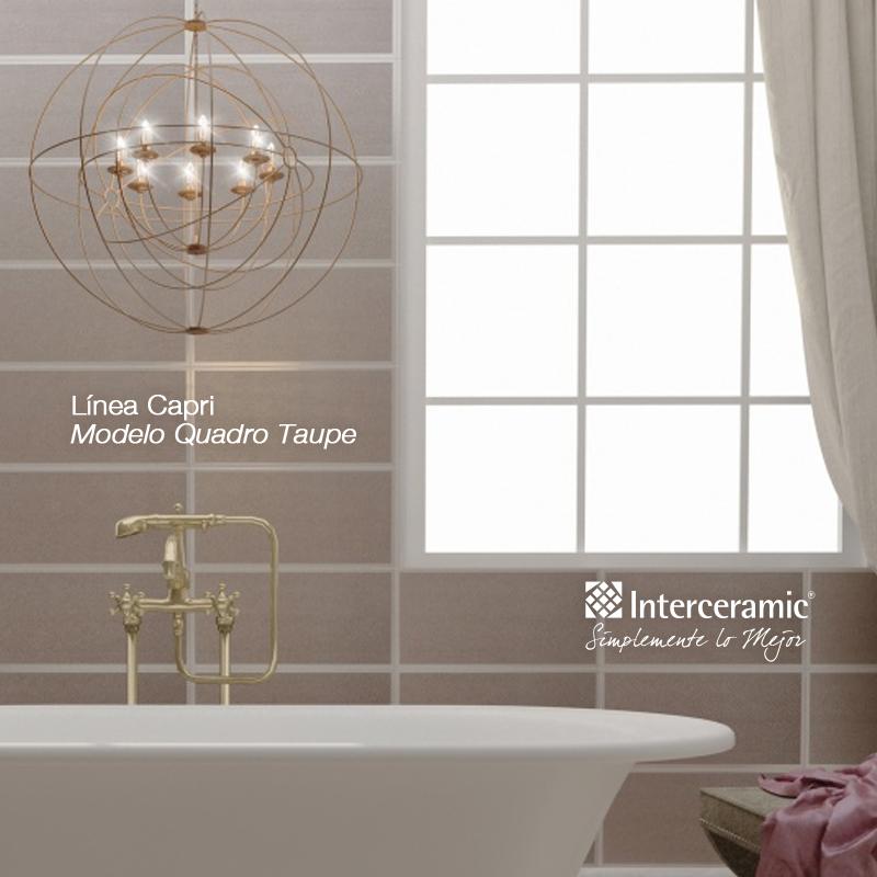 En pared Lnea Capri modelo Quadro Taupe  Baos modernos  Interceramic Baos modernos y Baos