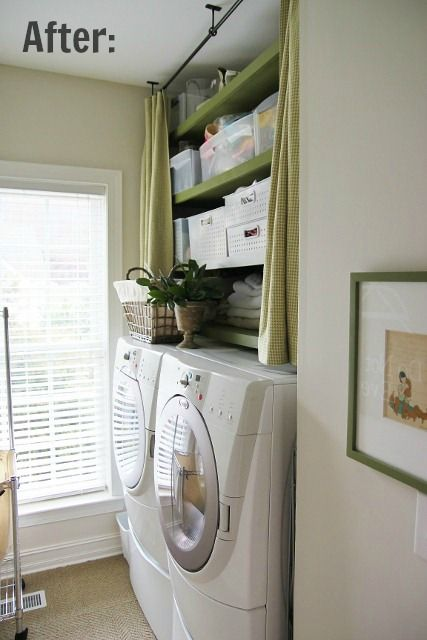 Love The Shelving Over Washer And Dryer That Can Be Covered With Cafe Curtain Laundry Mud Room Cafe Curtains Laundry Room