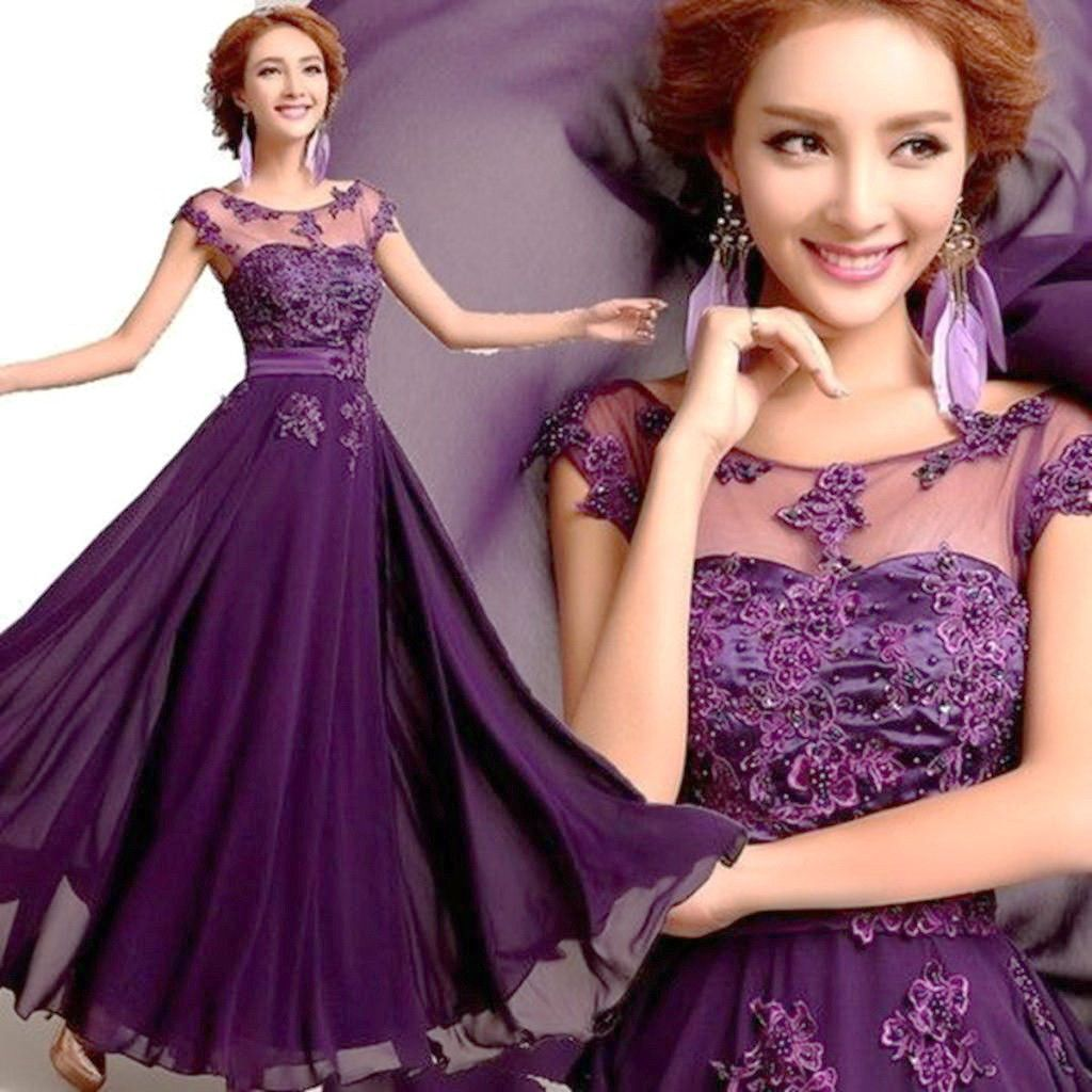 New long chiffon bridesmaid evening formal party ball gown prom