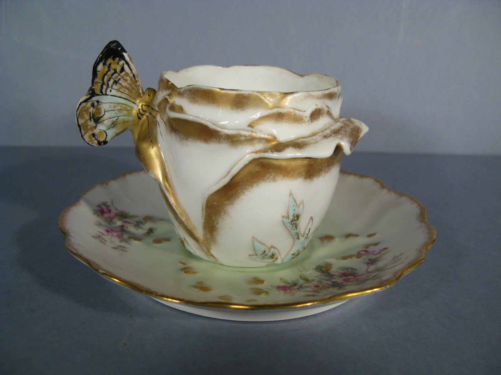 tasse papillon porcelaine de limoges style art nouveau tasse porcelaine limoges porcelaine. Black Bedroom Furniture Sets. Home Design Ideas