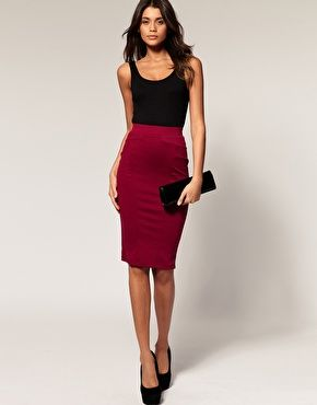 Midi pencil skirt red – The most popular models skirts