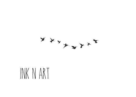 8 flying tiny birds swallow silhouette tattoo inknart by