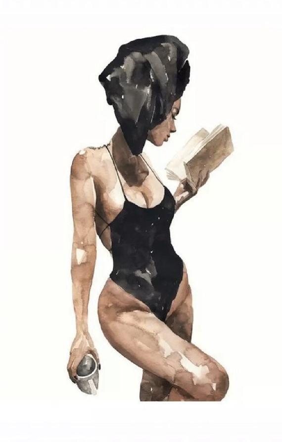 Fashion Black Swimsuit Black Head Towel Print Wall Art Home Decor 300gsm