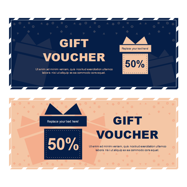 With Two Large Volumes Of The Gift Box In Blue And Orange This Voucher Template Edraw Enables You To Get Started Rapidly Lying