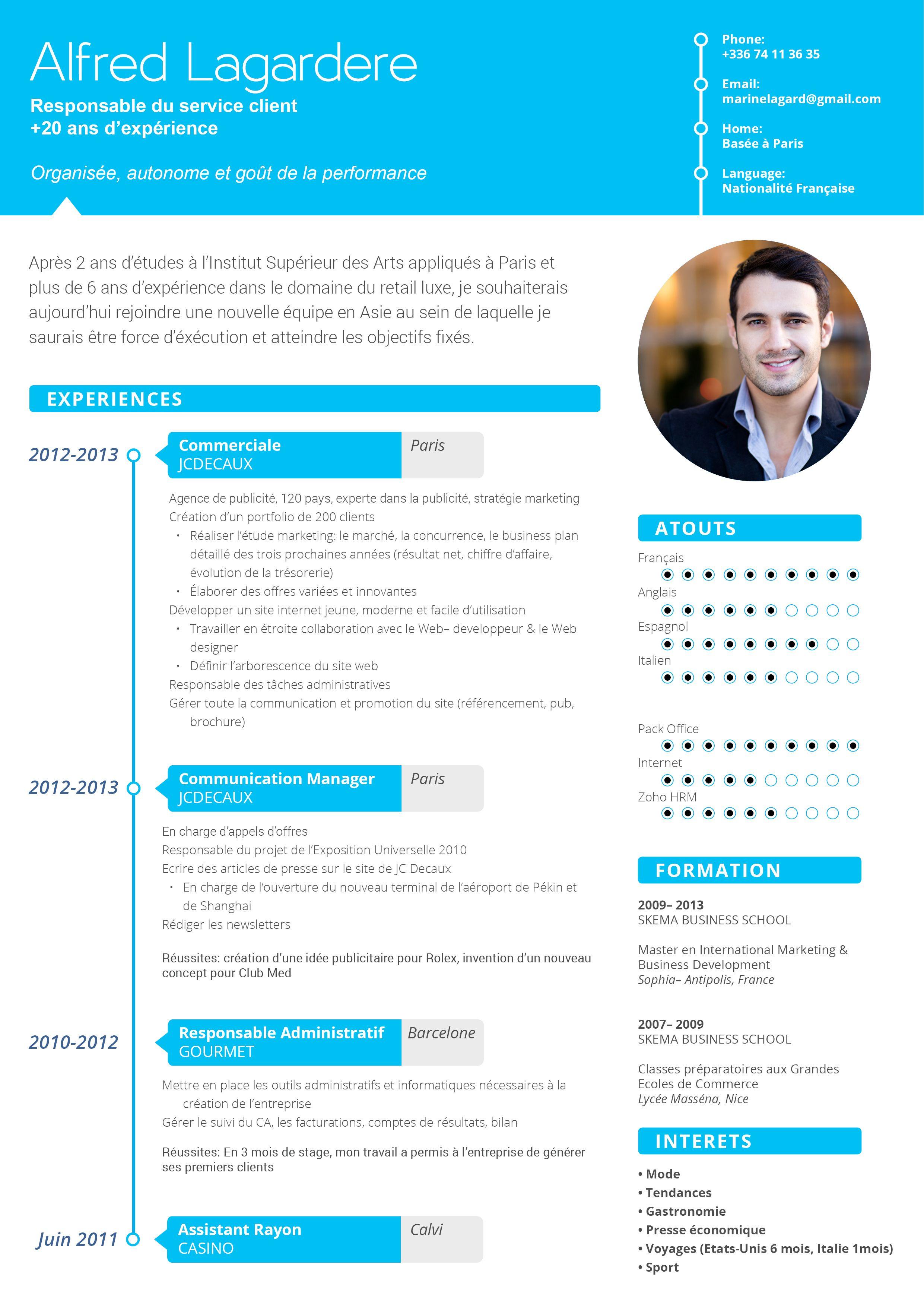 CV moderne Positif Cv commerciale, Exemple cv