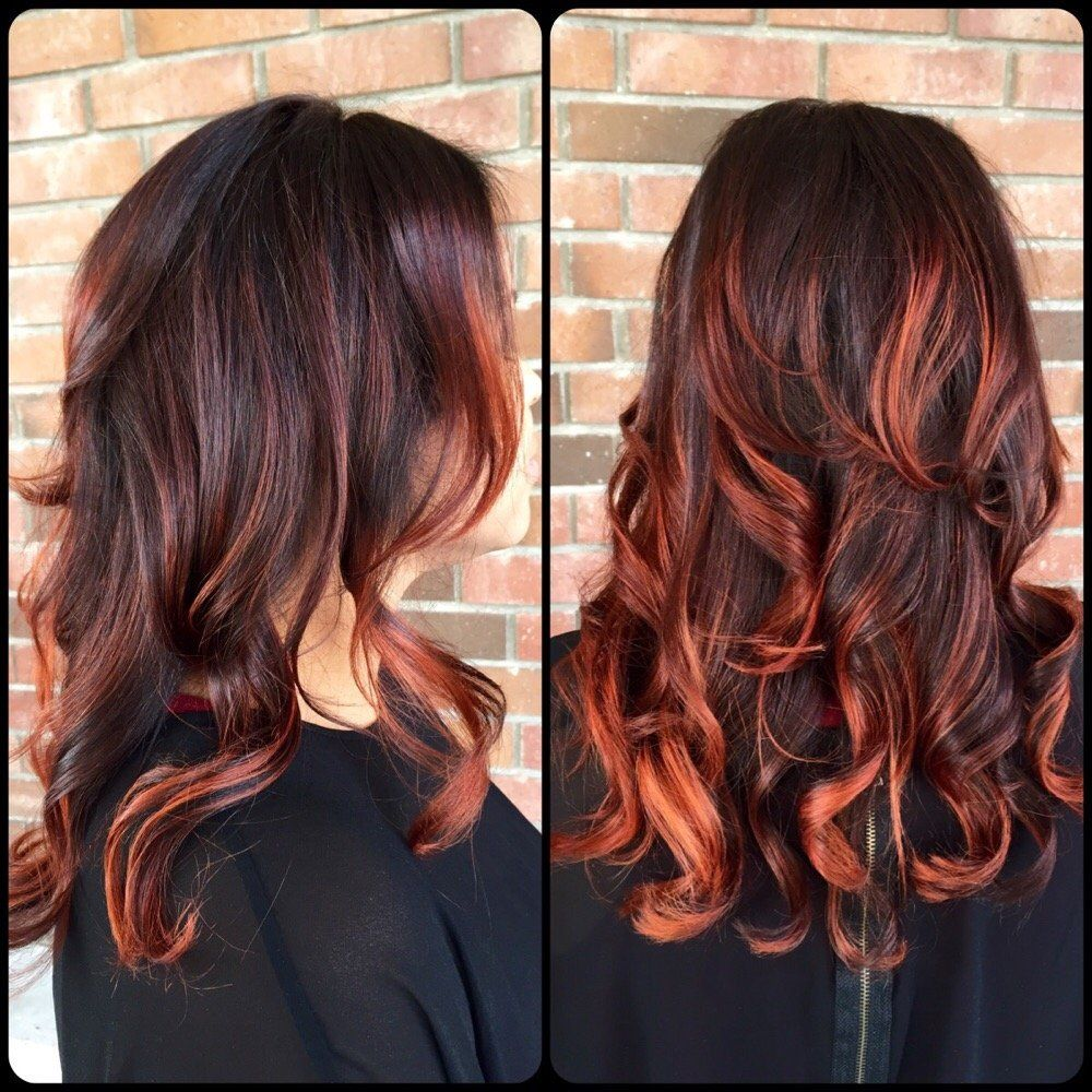 Image Result For Red Highlights In Dark Brown Hair Hair Nails