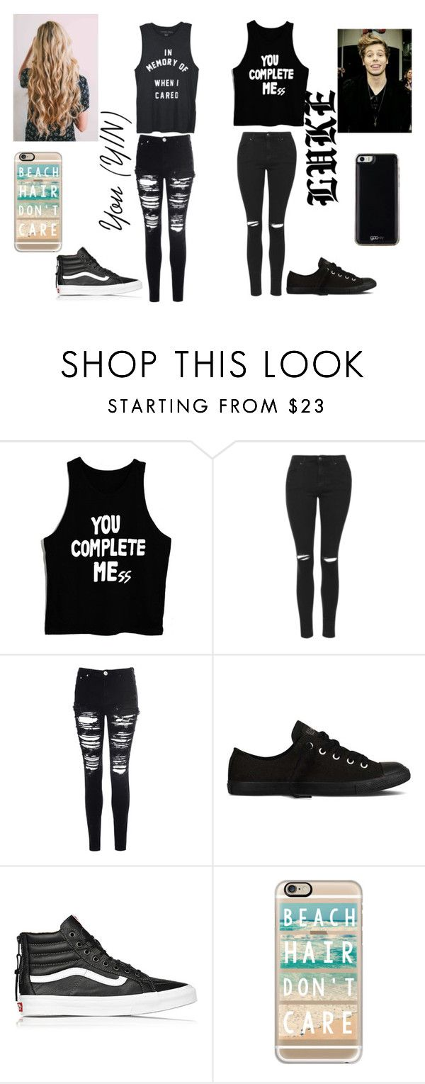 """""""We'll safety pin the pieces of our broken hearts back together"""" by caylie-wood on Polyvore featuring Topshop, Glamorous, Converse, Vans, Casetify and Gooey"""