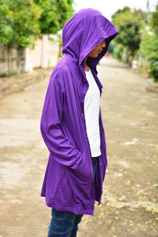 Purple long t shirt hoodie jacket long sleeve