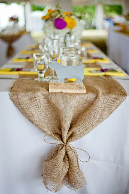 burlap table runner, tied at the end- Thanksgiving table?