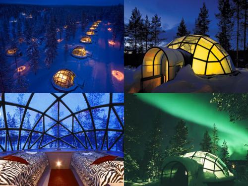 Kakslauttanen Arctic Resort In Saariselkä(Finland) Watch The Northern Lights  From A Glass Igloo!