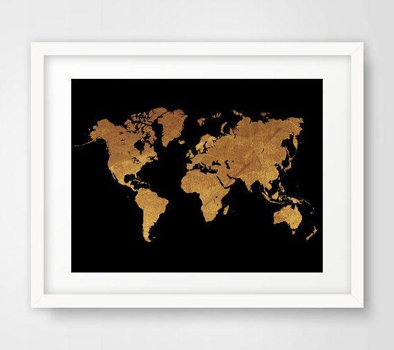 World map wall art prints modern decor gold world map cool world map wall print world map print gold world map gold decor gumiabroncs Image collections