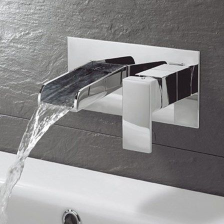 This Waterfall Tap Will Be Perfect To Use With A Countertop Basin Bathroomdesign Wall Mounted Bath Taps Basin Mixer Taps Wall Mounted Basins