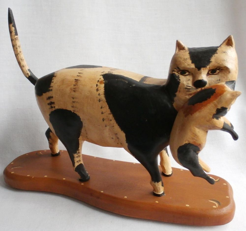 1998 Jane Walter Gottshall Carved Wood Large Momma Cat Carrying Kitten Chauve Souris Chat Art