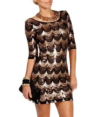 Pre-Order: Black/Gold Scalloped Sequin Dress | dresses | Pinterest ...