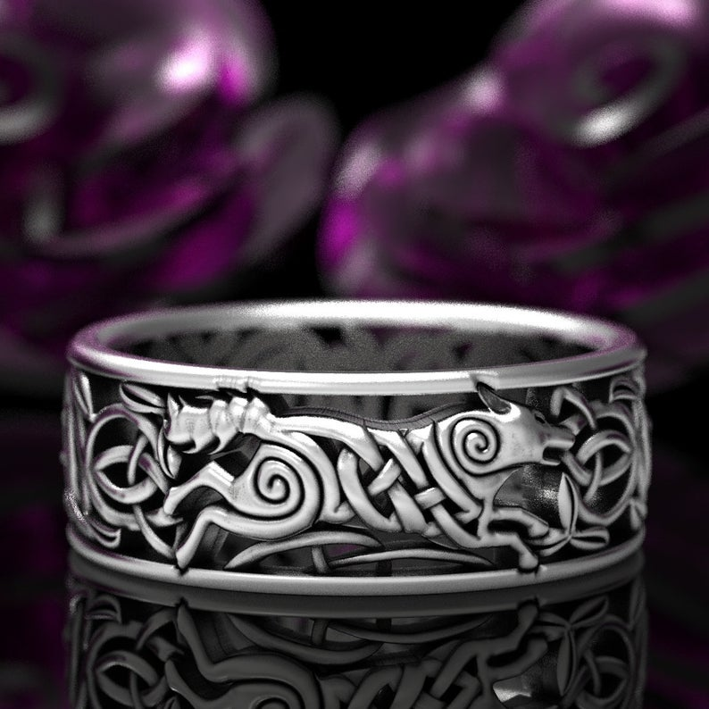 Celtic Wolf Ring, Wolf Knot Celtic Wedding Ring, Wolf