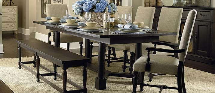 Custom Dining Turned Post Table By Bassett Furniture