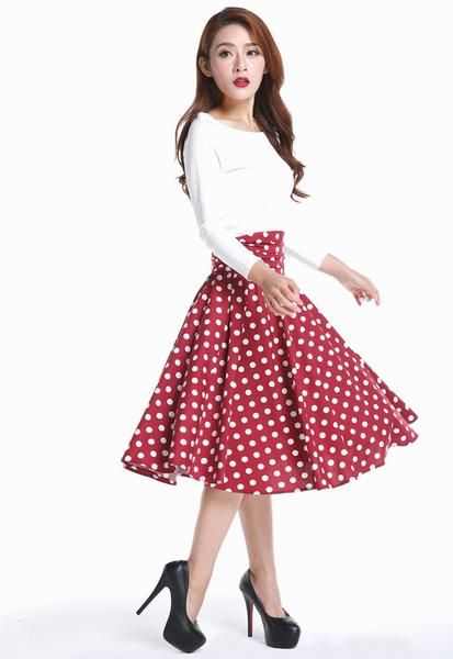 Retro polka dot skirt outfit idea 24d08d17ea06