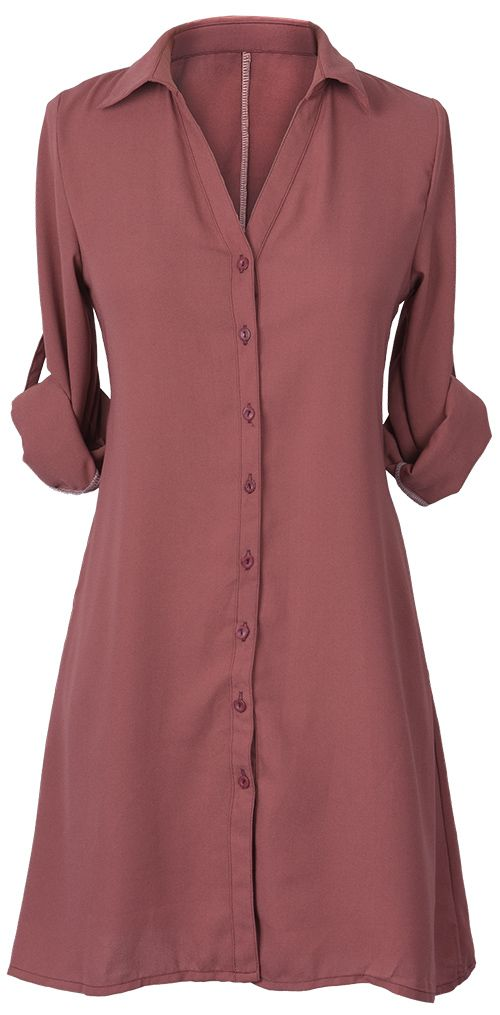 606898c3ec1e Chic work clothes!  23.99 Only with free shipping Now! Usually the most  basic style can make you shine all day! This solid color shirt dress comes  in button ...