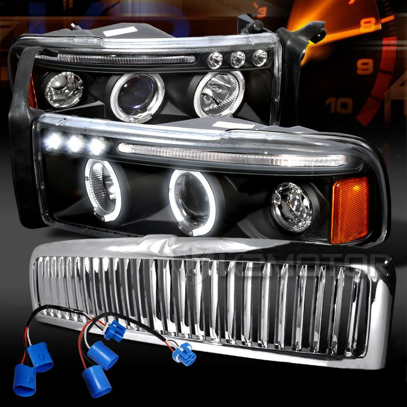 Comes With Black Housing With Dual Halo Led Lights Comes With 1 Piece Front Vertical Hood Grill Headlights Comes Equi Led Halos Halo Led Lights Led Projector