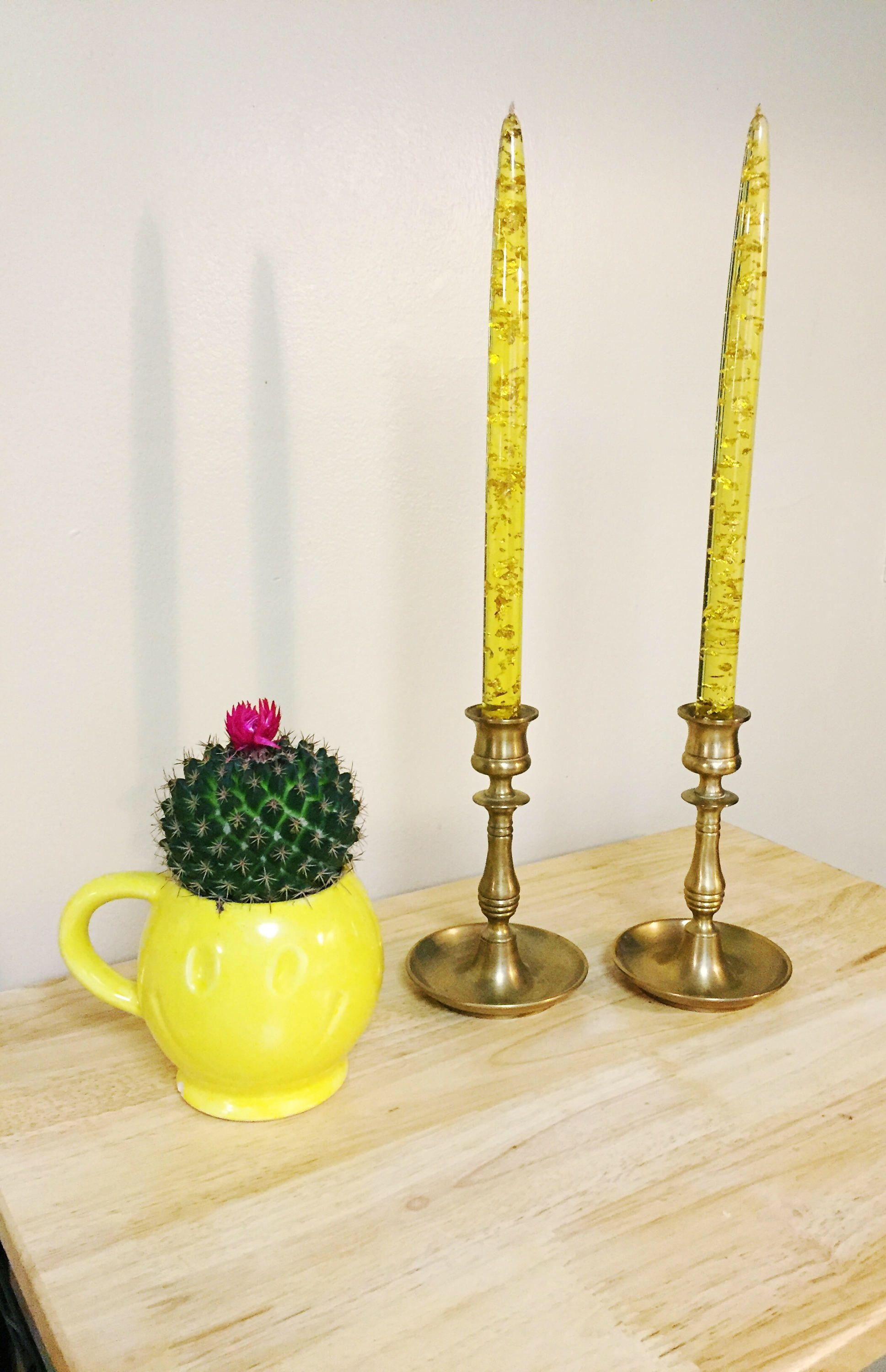 Vintage Brass Candlestick Holders Yellow Lucite Acrylic Confetti