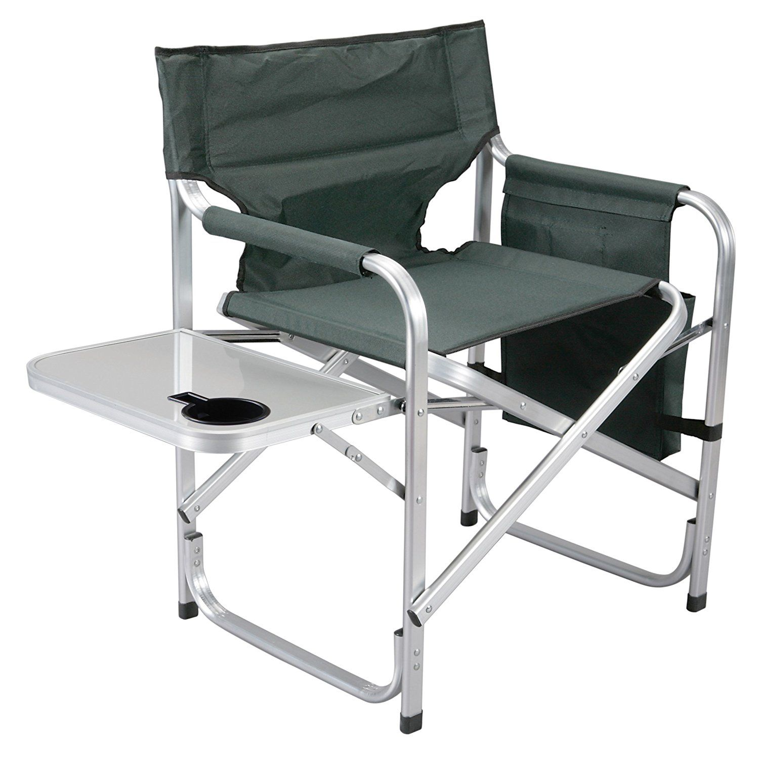 Tremendous Faulkner Aluminum Director Chair With Folding Tray And Cup Beutiful Home Inspiration Aditmahrainfo