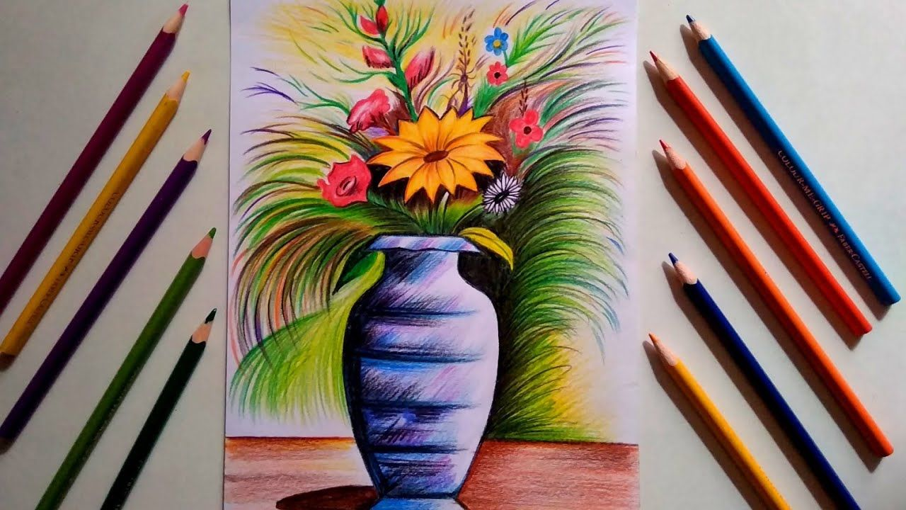 Flower Vase Drawing With Pencil Colour Step By Step For