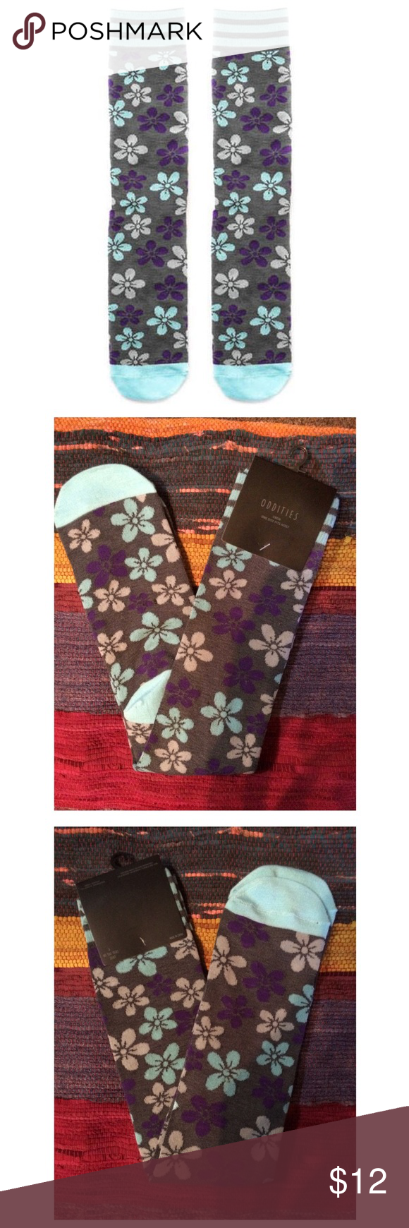 Floral Design Knee High Socks Knee high length with an all-over floral print. Has bright, enriched colors like purple and light blue. Size: OSFM. Brand new on garment tag, NWT!! Other