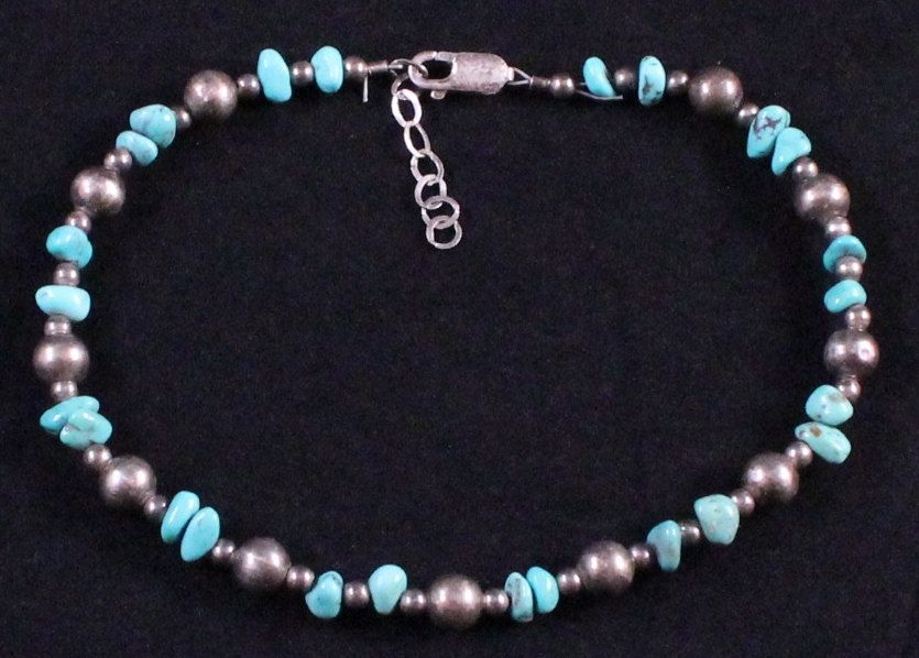 Vintage Sterling Silver & Turquoise Beaded Bracelet by Paststore by paststore on Etsy