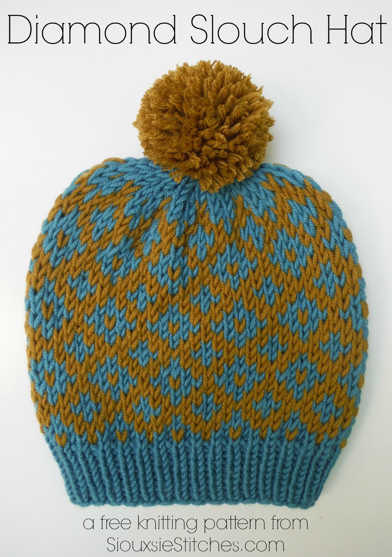 Free knitting pattern for a cute and modern diamond slouch hat from ...