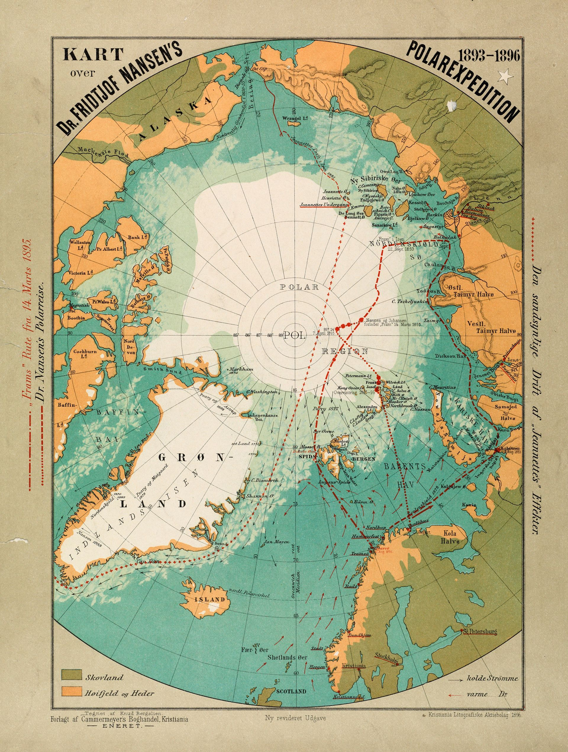 Map Of Fridtjof Nansen S Polarexpedition 1893 1896 By Knud Bergslien