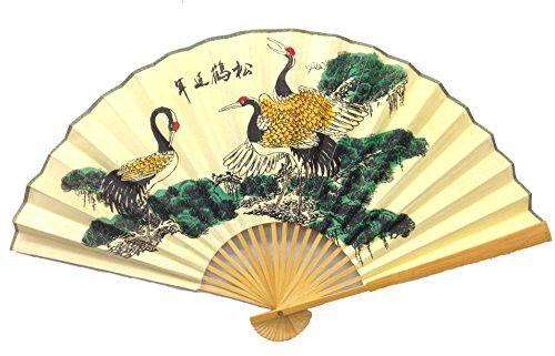Crane Wall Folding Chinese Bamboo Fan Medium Size 35\