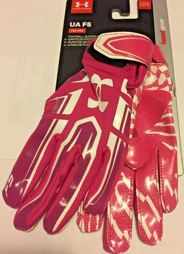 New under armor youth pee wee ua f5 pink football gloves