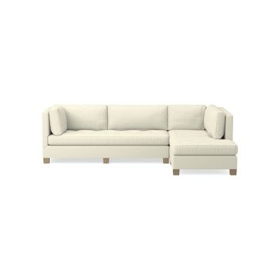 Wilshire Sectional Right 2 Piece L Shape Sofa With Chaise Down Cushion Belgian Linen Oyster Natural Leg L Shaped Sofa Tufted Bench Seat Cushions
