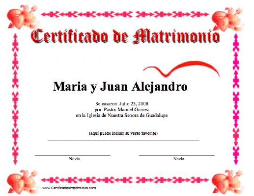Certificado De Matrimonio Para Imprimir Los Certificados Gratis Para Descargar E Imprimir Certificado De Matrimonio Matrimonio Acta De Matrimonio