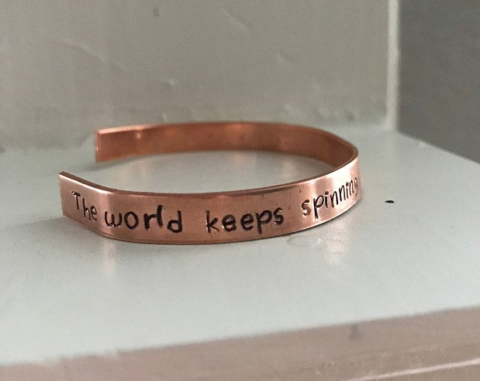 The world keeps on spinning because your heartbeats exist. - Brittainy Cherry, The Silent Waters. Copper or Aluminum cuff