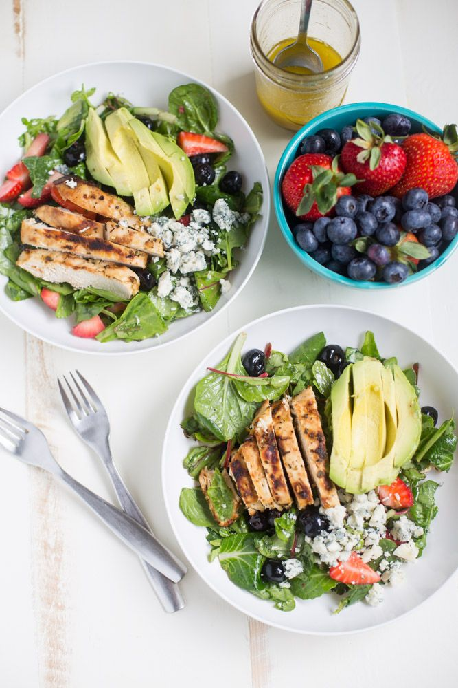 Gorgonzola Chicken Salad with Berries and Avocado | This Gal Cooks - Featured at the  Home Matters Linky Party 120