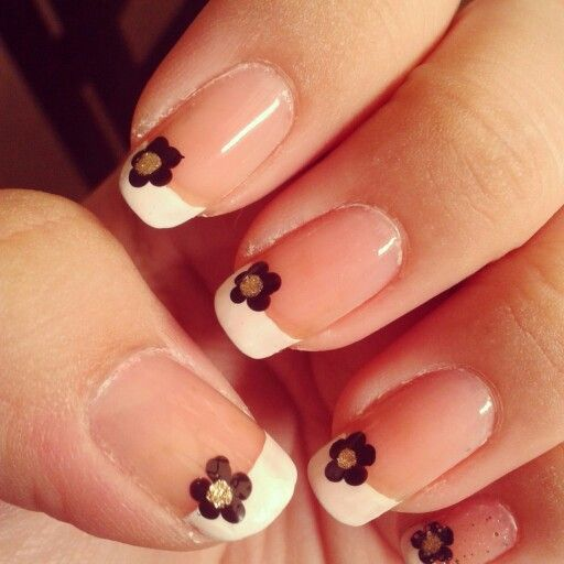 French manicure with tiny black flowers #nails #french #manicure