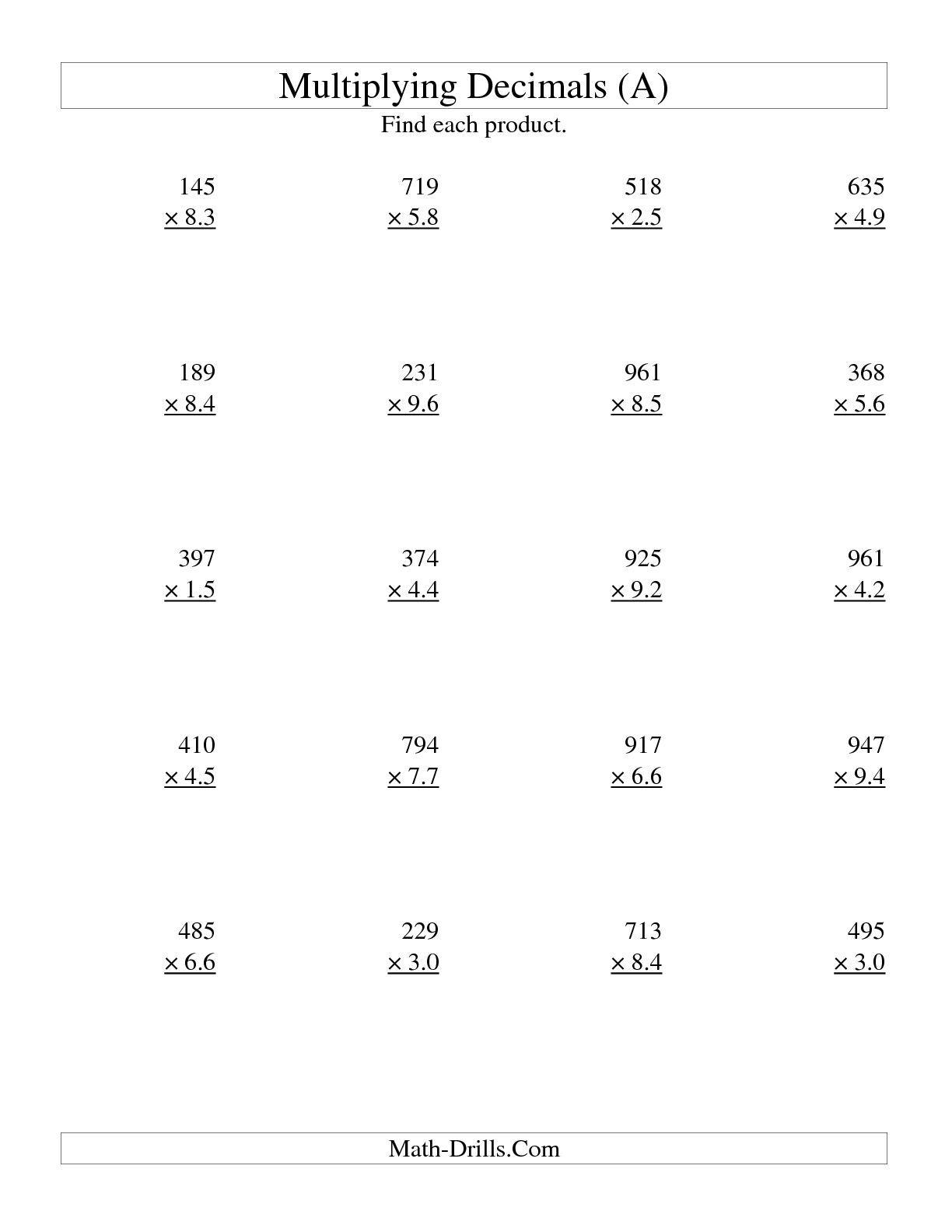 10  multiplying decimals worksheets | kylin therapeutics