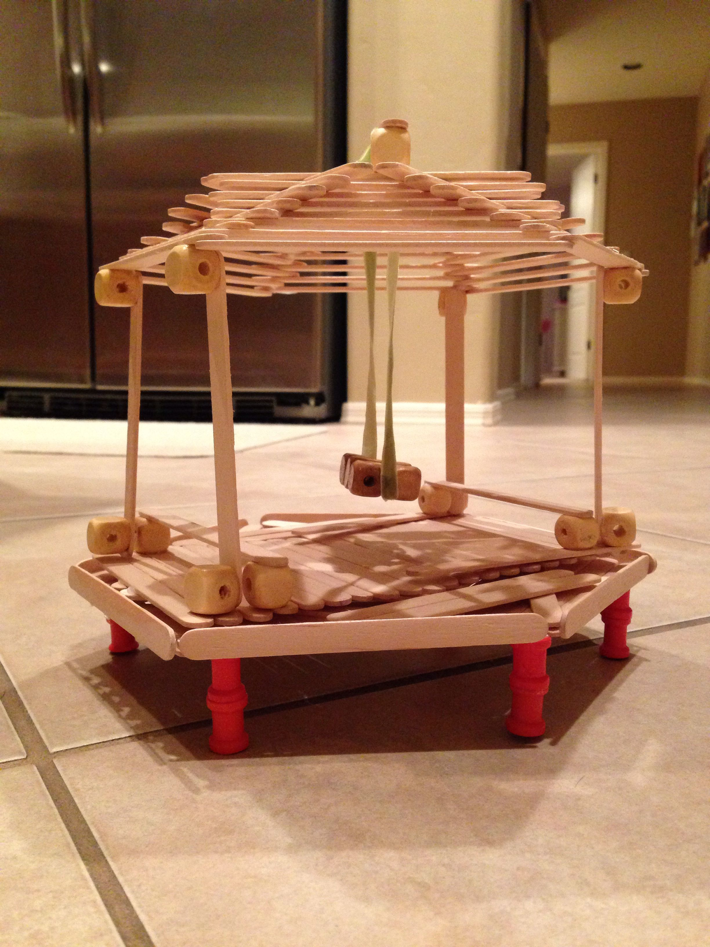 Popsicle stick church craft - Popsicle Stick Gazebo With A Swing And Two Benches Raised Off The Ground Diy With