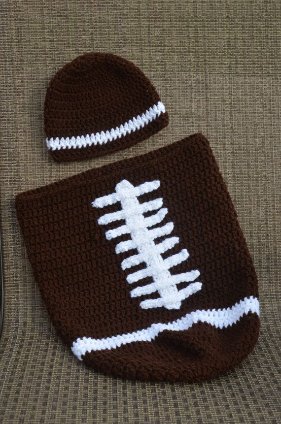 Crocheted Football Cocoon And Hat Set For Baby Brown White