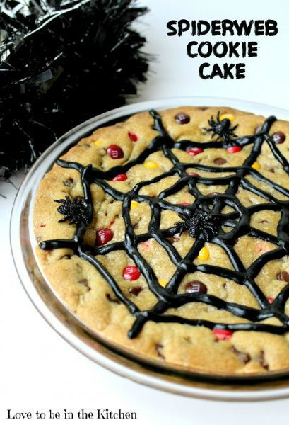 Spiderweb Cookie Cake 30 Days of Halloween - Day 24 Halloween - halloween party treats ideas